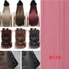 Deluxe Ombre Real Thick Clip In Hair Extensions Straight Wavy Brown Full Head Hr