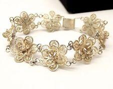 Vtg European Silver Filigree Bracelet Wirework Rose Flower Germany Ornate