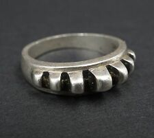 3D Solid Sterling Silver Ridged Ribbed Stacker Ring Size 9.5 Signed AV RS1267