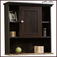 Bathroom Wall Mount Cabinet Medicine Cubby Storage Wood Shelf Organizer Espresso