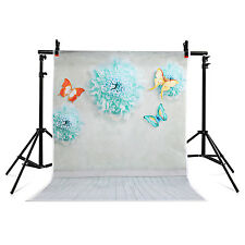 US 3x5 ft Photography Studio Background Backdrop green Wooden butterfly flo