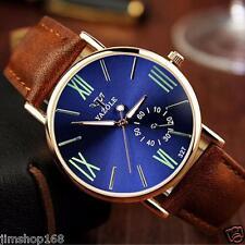 De Lujo Hombres Noctilucentes Relojes Moda Cuero Vidrio Cuarzo Analógico Pulsera