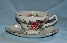 VTG Tea Cup and Saucer Set - Floral with Gold Trim, Ruffled & Embossed Design