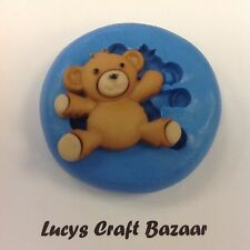 Silicone Mould Teddy Bears Picnic 6 Sugarcraft Cupcake Pop Topper Button Sculpey