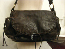 KOOBA 100% genuine leather shoulder bag whip stitch trim deep brown