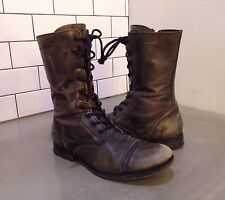 All Saints Mens Leather Combat Military Boots SZ 41 Euro 8 US Gray Lace Zip Up