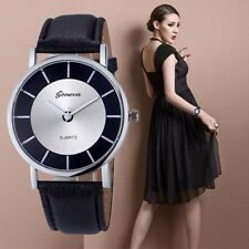 Fashion Moda Geneva Women mujeres Retro Dial Leather Analog Quartz Muñeca Reloj