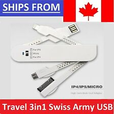 Travel Charge Cable 3in1 Swiss Army Knife Folding USB Data Sync Charger Cable