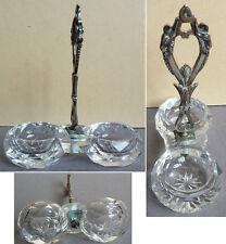 Ancienne salière 19e siècle en cristal et métal argenté sel poivre Baccarat