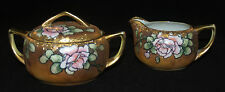 VINTAGE NIPPON PORCELAIN STYLIZED ROSE GILT GOLD CREAM AND SUGAR SET