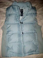 GAP ROBIN'S EGG BABY BLUE ZIP SNAP OVER DOWN FILL TRIM JACKET VEST-NICE- M-S