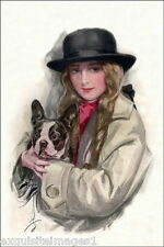 c1900 Harrison Fisher~Art Deco Lady Holding Boston Terrier~Dog NEW Lg Note Cards