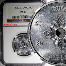 Lao Laos Sisavang Vong 1952 A 20 Cents NGC MS63 1 Year Type KM# 5
