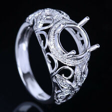14K White Gold Semi Mount Engagement Wedding FILIGREE Ring 7-8mm Round Diamond