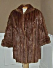 Vtg NATURAL MINK FUR Stroller Coat  Jacket womens sz M 8/10 cuffed sleeves 12