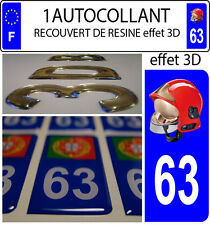 1 sticker plaque immatriculation auto DOMING 3D RESINE CASQUE F1 POMPIER DEPA 63