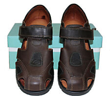 "NIB ""CLARKS"" Kids Boys Genuine Leather Brown Sandals Shoes Size 12G"