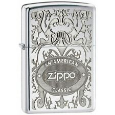 Official Crown Stamp Gleaming Patina High Polish Chrome Zippo Lighter - Boxed