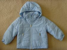 New Gucci Baby Boy/Girl Auth Blue Hooded lightweight jacket zip-up coat 12-18M