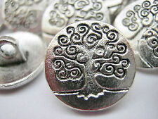 "10 Tree of Life Metal Shank Sewing Buttons 15mm (5/8"") Silver Tree Coat Buttons"