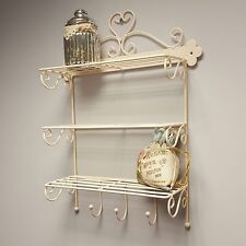 Cream Wall Hanging Shelf Display Shabby Chic Style Kitchen Bathroom Storage