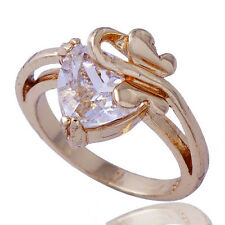 Womens Yellow Gold Filled Clear Heart Cubic Zirconia Butterfly Ring Size 7.5