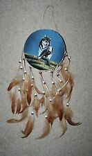 Rawhide Native Hand Painted WOLF Dream Catchers Feathers Oil on Velvet