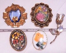 5pc FLOWER BROOCH LOT pins floral painted rose cameo pendant vintage lot set B1