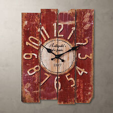 Antique Clock Wall Rustic Vintage Style rectangle Clocks Large Art Home Decor