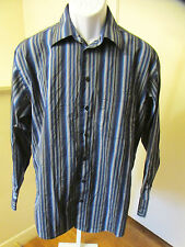 Kenneth Cole Size 15 (32/33) Men's Long Sleeve Dress Shirt Blue Striped