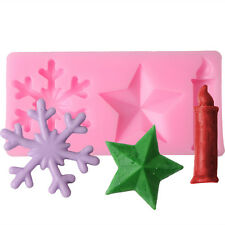 3D Snowflake Candle Star Silicone Fondant Cake Mold Candy Mould DIY Decorating