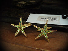Peridot Green Crystal & Gold Star Cuff links Made with Swarovski Elements
