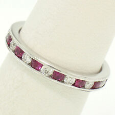 Tiffany & Co. Platinum 1.44ctw Diamond & Red Ruby Channel Eternity Band Ring Sz7
