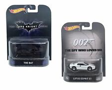 2 x HOT WHEELS RETRO ENTERTAINMENT CARS The Dark Knight Rises And James Bond 007
