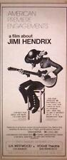 1973 MOVIE FILM ABOUT JIMI HENDRIX TRADE AD