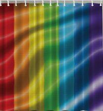 Rainbow Stripes LGBT Love Fabric SHOWER CURTAIN Gay Pride Symbol Flag Bath Decor