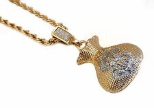 """18k Gold Plated Money Bag Pendant Necklace with 24"""" Rope Chain"""