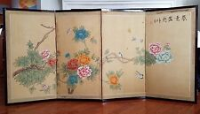 Vintage Hand Painted Flowers on Silk 4 Panel Folding Chinese Screen Artist Signe