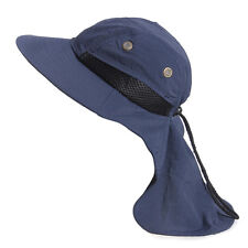 Neck Flap Boonie Hat Fishing Hiking Safari Outdoor Sun Brim Bucket Bush Cap Blue