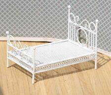 Dollhouse Miniature 1:12 Scale Victorian White Wire Tiny Child Bed