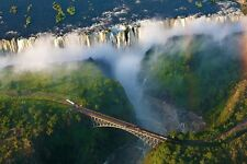 Africa Victoria Falls waterfall aerial view bridge nature landscape Poster X