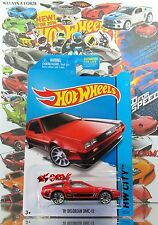 Hot Wheels 2014 #33 '81 Delorean DMC-12 RED,2ND COLOR,10SP,BLACK BASE,US CARD