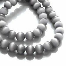 50 pieces 8mm oeil de chat perles-gris-A3745
