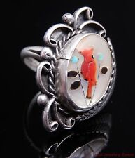 Zuni Vintage Silver Turquoise Coral MOP Inlay Bird Southwest Style Ring Sz 7