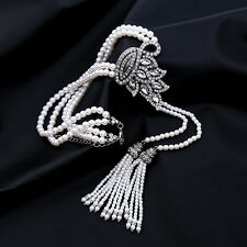 Faux Pearl And Crystal Double Tassel Lariat Necklace Deco Pendant Silver Jewelry