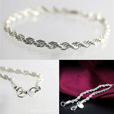 Shining Women Plated Silver Twisted Bracelet Charming Jewelry Fashion