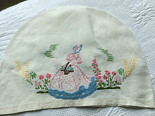 Vintage hand embroidered Crinoline Lady tea pot cover, cottage garden, flowers.