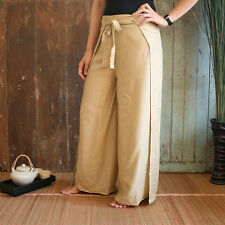 Women's Wrap Wide Legged Pants Palazzo Pants in Beige Brown Thai Rayon Pants