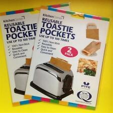 4x Grilled Cheese Sandwich/Snack Bags/Pockets Reusable Toast/Toaster/Toastabags