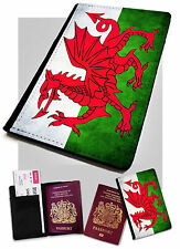 Passport Holder Welsh Flag Printed Faux Leather Cover Case Wales UK Britain GB